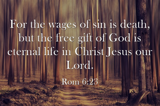 Romans 6:23 U201cFor The Wages Of Sin Is Death, But The Free Gift Of God Is  Eternal Life In Christ Jesus Our Lord.u201d