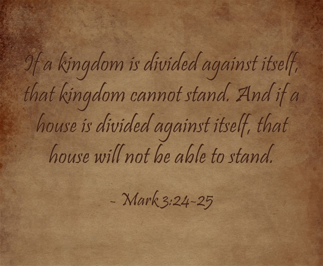 a house divided against itself cannot stand bible verse 2