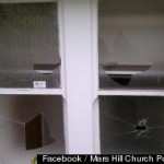 """Windows at Mars Hill satellite broken by a group calling itself """"Angry Queers"""""""
