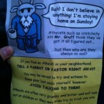 I'm gonna go out on a limb and guess the Christian flier has a sheep on it?