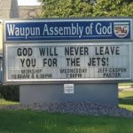 "Church Sign Epic Fails, ""God Hates the Jets"" Edition"