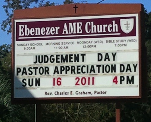 Church Sign Epic Fails, 'Pastor Judgment Day' Edition ...