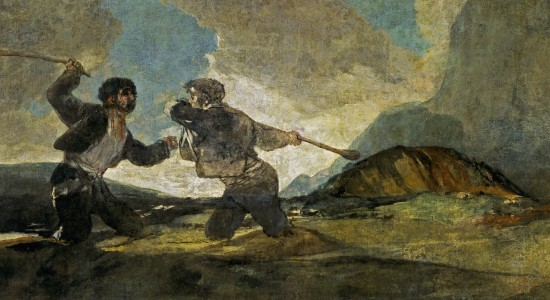 "Cultural Warriors: Goya's ""Fight With Cudgels"" (and sinking in quicksand) is an example used by Girardian Michel Serres in one of his books. The painting demonstrates the symmetry and stupidity of such rivalries."