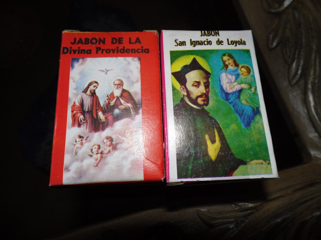 "Road trip finds for mental hygiene. The St. Ignatius soap says the product should be employed, ""Against the Spirit of Evil."""
