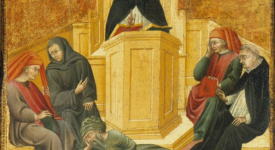 Aquinas embedded in his totally chill Muslim context. (Giovanni di Paolo, Aquinas Confounding Averroes; Wikimedia Commons PD-old-100)