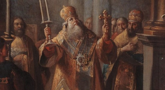 Ivan Belsky, The Bishop Serving the Divine Liturgy, 1770; Source: Wikimedia Commons, PD-Old-100.