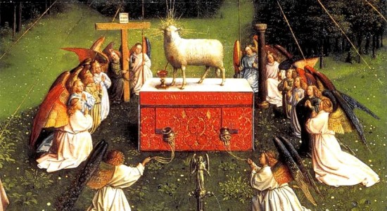 The Ghent Altarpiece has everybody looking on and nobody ingesting.  (Jan van Eyck, The Mystic Lamb, 1432; Source: Wikimedia Commons, PD-Old-100)