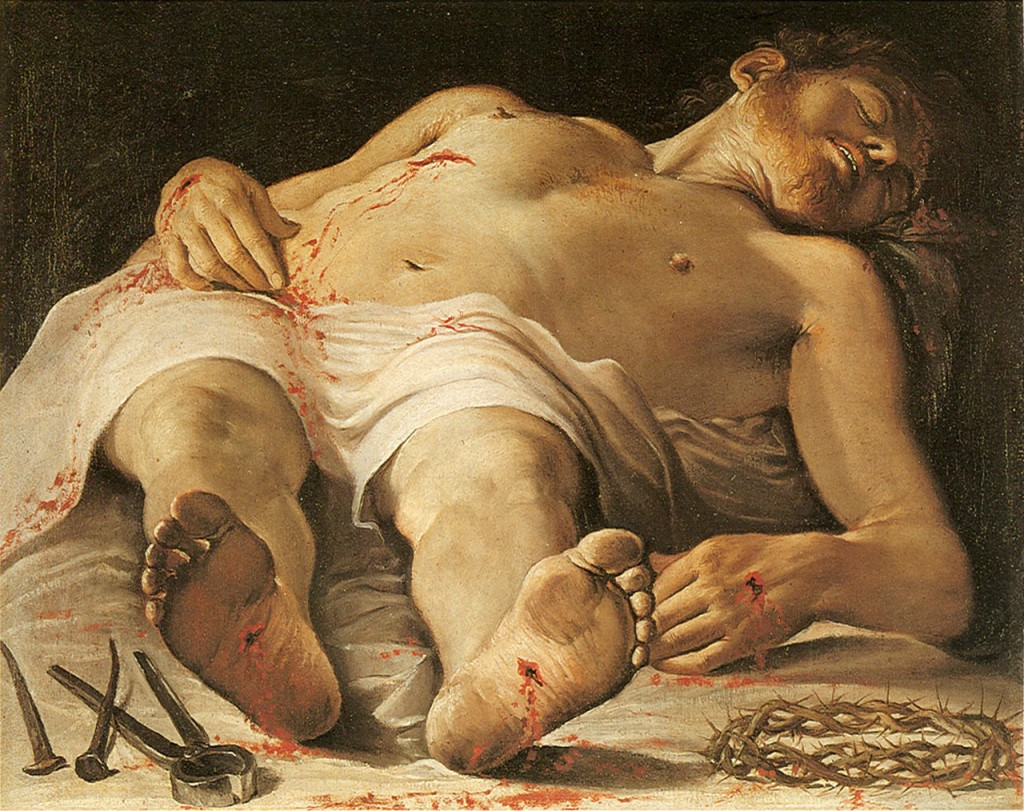 It's more difficult to believe in death than in the Resurrection. (Annibale Carraci, The Dead Christ, 1584; Source: Wikimedia Commons, PD-Old-100)