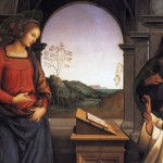 St. Bernard's vision is of the Virgin Mary, as Fabrice Hadjadj might predict (Source: Pietro Perugino, Vision of St. Bernard, 1489; Wikimedia Commons, PD-Old-100).