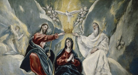 The skinniest Trinity/Coronation of all time. Cornbread anyone? (El Greco, Coronation of the Virgin, 1592; Source: Wikimedia Commons, PD-Old-100).