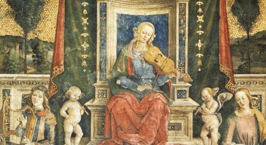 Mary with the fiddle (Pinturicchio, Music, 1493; Source: Wikimedia Commons, PD-Old-100).