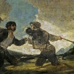 Sinking in quicksand as a volcano is about to go off (Francisco Goya, Fight with Cudgels, 1823; Source: Wikimedia Commons, PD-Old-100).