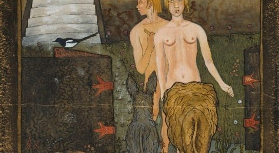 The animals tastefully block the topic of today's post (Hugo Simberg, Adam and Eve, 1895; Source: Wikimedia Commons, PD-Old-Before-1923).