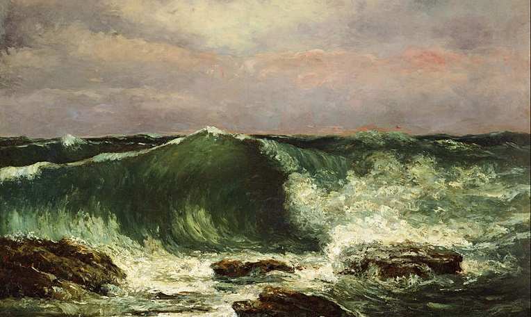Liquid modernity crashes upon your certainties like waves upon rocks (Gustave Courbet, Waves, 1870; Source: Wikimedia Commons, PD-Old-100).