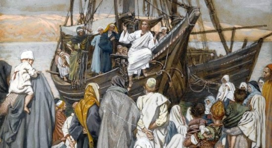 I've never seen a painting of Jesus preaching on a ship. This overrode all my other criteria for a cover image to this post (James Tissot, Jesus Preaching on a Ship, c. 1894; Source: Wikimedia Commons, PD-Old-100).