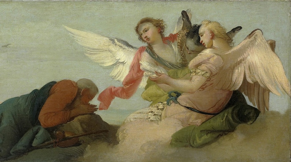 Hospitality to the total stranger is one of the ultimate biblical values (Francesco Zugno after Tiepolo, Abraham and the Three Angels, c. 1780; Source: Wikimedia Commons, PD-Old-100).