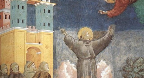 Jesus reaches for the cotton candy St. Francis came riding on (Giotto, Legend of St. Francis, circa 1300; Source: Wikimedia Commons, PD-Old-100).