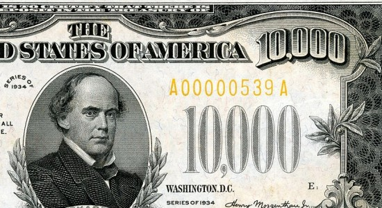 Aren't we all chasing money more than anything else? ($10,000 bill; Source: Wikimedia Commons, courtesy of National Numismatic Collection at the Smithsonian Institution, PD).