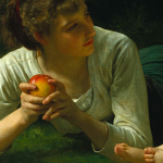 People have been known to cook myths about science with apples as well (William Adolphe Bouguereau, Temptation, 1880; Source: Wikimedia Commons, PD-Old-100).