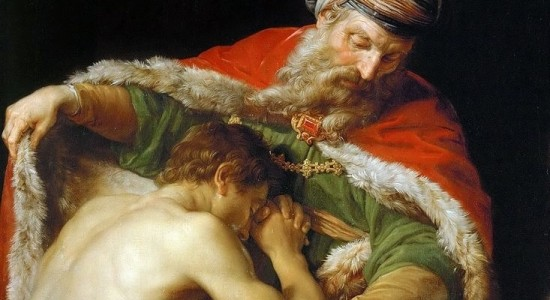 How is forgiveness related to giving thanks? (Pompeo Batoni, The Return of the Prodigal Son, 1773; Source: Wikimedia Commons, PD-Old-100).
