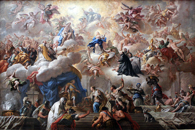 An 18th century painting reflects the century's high view of the Immaculata (Paolo de Matteis, Triumph of the Immaculate, 1715; Source: Wikimedia Commons, PD-Old-100).