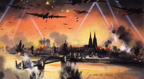 Bombs away on Just War in the Vatican(The National Archives UK, Mass bomber raid on Cologne, 1939-1946, No know copyright restrictions)
