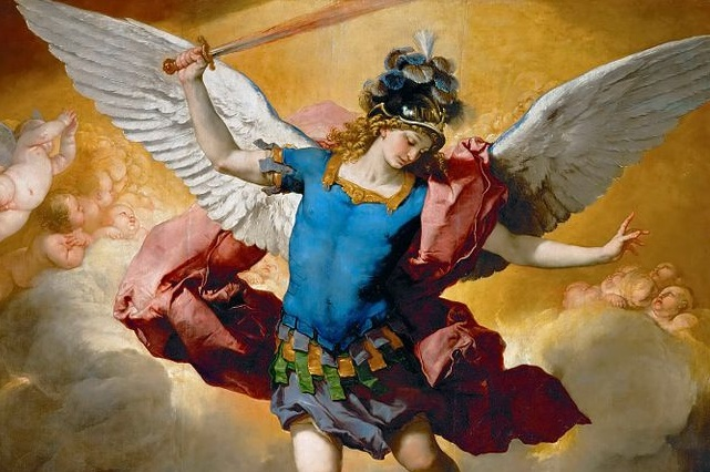 (St. Michael detail of Luca Giordano, Fallen Angels, 1666; Wikimedia, PD-Old-100)