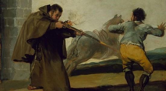 (Goya, Friar Pedro shoots El Maragato as his horse runs off, 1806; Wikimedia, PD-Old-100).