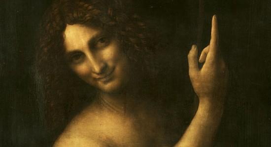 (Leonardo da Vinci, Saint John the Baptist, 1516; Source: Wiki Commons, PD-Old-100).