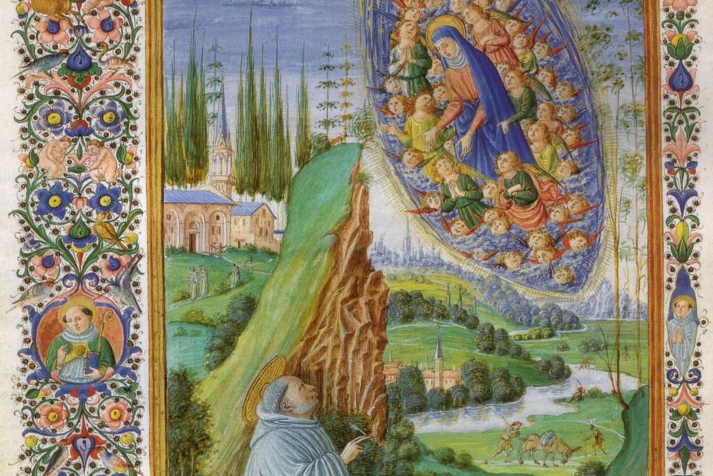 (Francesco di antonio del chierico, visione di san bernardo in sermones, bibl ap vaticana, ms urb lat 93 f. 7v, 15th c; Source: Wiki Commons, PD-Old-100)