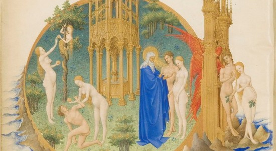 I suppose Genesis featured the first Earth Day (Limbourg Brothers,Très Riches Heures du duc de Berry Folio 25, verso: The Garden of Eden, 15th c.; Wikimedia, PD-Old-100)