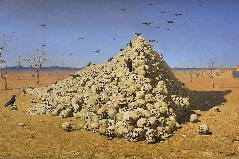 (Vasily Vereshchagin, Apotheosis of War, 1871; Wikimedia, PD-Old-100).
