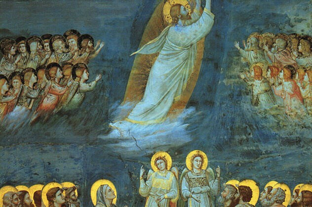 (Giotto, Ascension, Scrovegni Chapel, 14th c; Wikimedia, PD-Old-100).