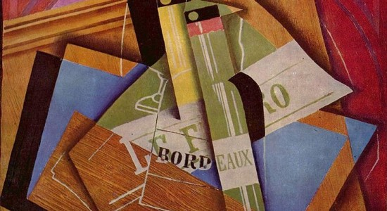 (Juan Gris, Still Life with a Bordeaux Bottle, 1919; Wikimedia, PD-Old-70)
