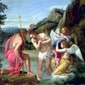 Jesus baptized by John, with the dove of the Holy Spirit (painting by Francesco Alban, 1600s)