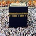 "Muslims circle the Kaaba (""Cube"") in Mecca"