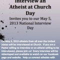 Promotional poster for Interview an Atheist at Church Day