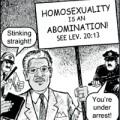 Peaceful anti-gay protester gets beat up in a Chick tract