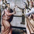 Judas receives money from the Sanhedrin (painting on the ceiling of 18th century church Guanajuato, Mexico)