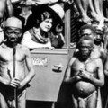 Mbuti pygmies with explorer Osa Johnson, 1930