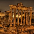 Roman ruins at night