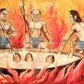 Buddhist hell, from a 19th century Burmese temple painting