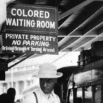Colored waiting room, bus stop in Durham, NC (1940)