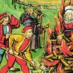Illustration of a woman being burned in Willisau, Switzerland in 1447 (from a 1513 painting)