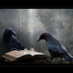 Crows with book and glasses