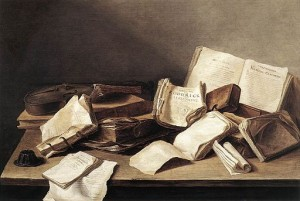 A classical still life painting of scattered books and papers on a desk.