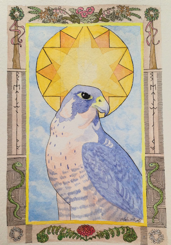 Watercolor painting of a hawk with a sun background and a border of midsummer symbolism