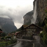 A rainy evening in Lauterbrunnen; the yellowish Hotel Staubbach is on the left.