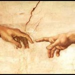Detail of the finger of Adam and the finger of God from Michelangelo's Sistine Ceiling