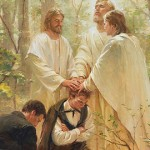 Peter, James, and John confer the priesthood of Melchizedek upon Joseph Smith and Oliver Cowdery near the border of Pennsylvania and New York